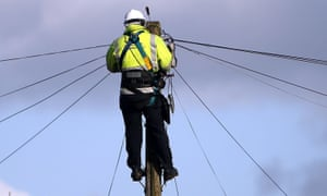 A BT Openreach engineer working on telephone lines in Havant, Hampshire.