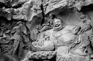 Soldiers on Yuan Dynasty Sculpture at Maitreya, West Lake, near Hangzhou, China, 1978