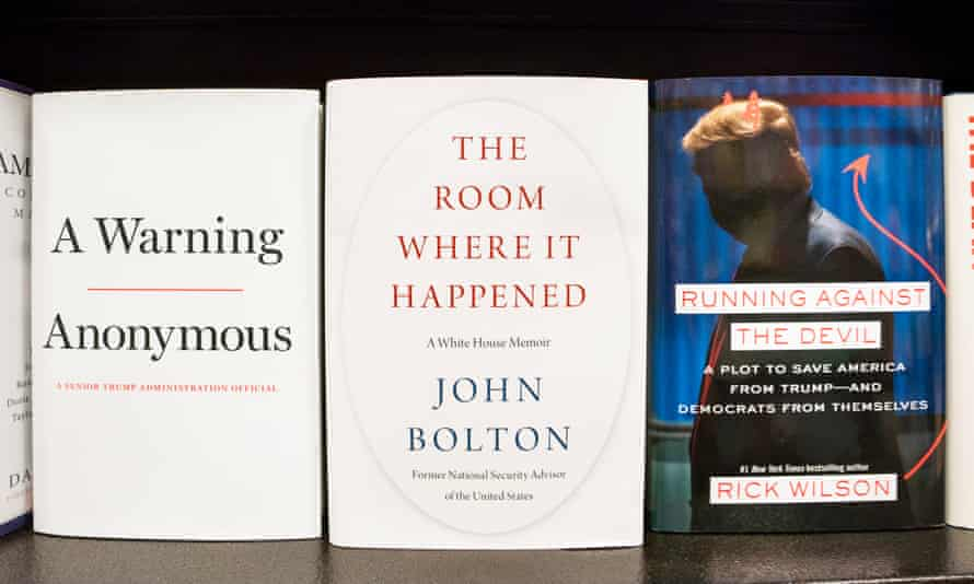Three of the at least 150 books published about the Trump presidency.