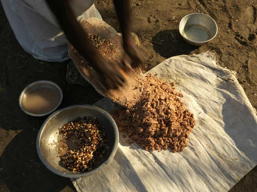 The sorghum is ground into powder