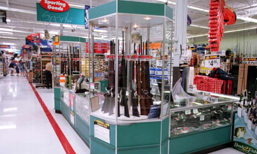 Guns for sale at a Walmart, July 19, 2000. Photograph: Getty Images