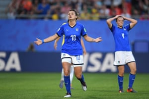 Italy's Cristiana Girelli reacts after her goal is disallowed.