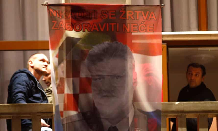 A flag showing Slobodan Praljak and reading: 'Your sacrifice will never be forgotten' in Mostar.
