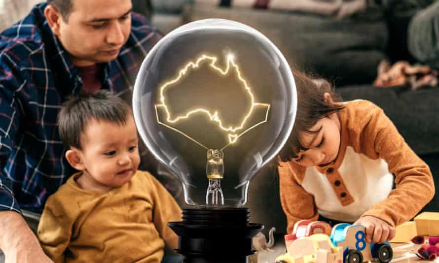 Family with lightbulb