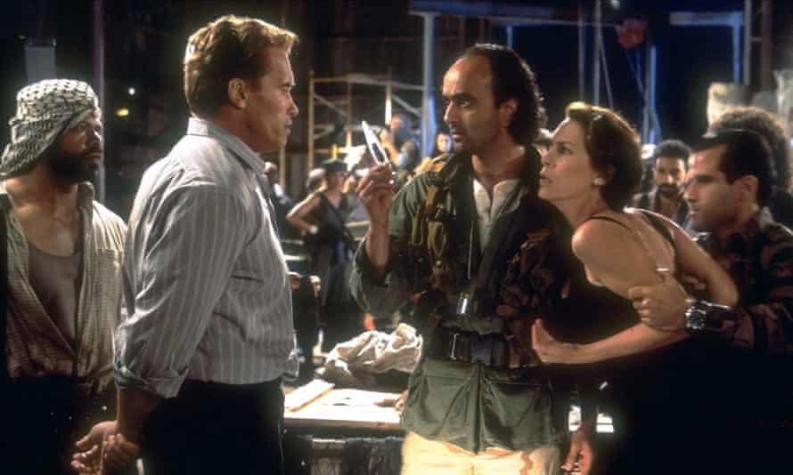Arnold Schwarzenegger, Art Malik and Jamie Lee Curtis in True Lies.