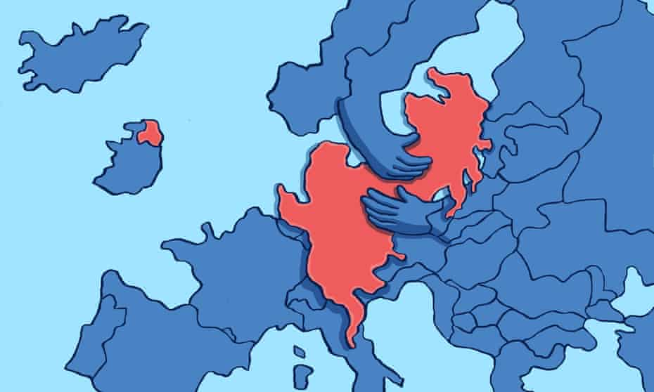 Dom McKenzie The Observer Britain Close to Europe illustration of Europe hugging England, Scotland and Wales