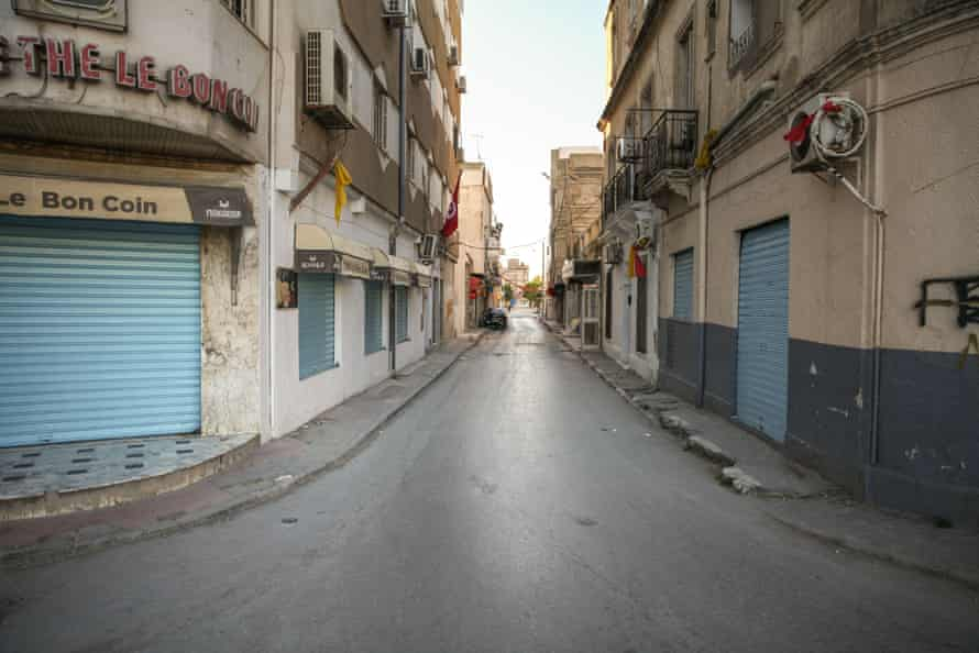 Closed shops in Ariana, near Tunis. As Muslims around the world celebrated Eid al-Fitr, the Covid lockdown meant there were no festivities in Tunisia.