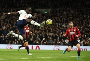 Tottenham's Moussa Sissoko scores their third goal as Spurs win 3-2 against Bournemouth. Sissoko's goal was his first in 69 Premier League appearances for Tottenham
