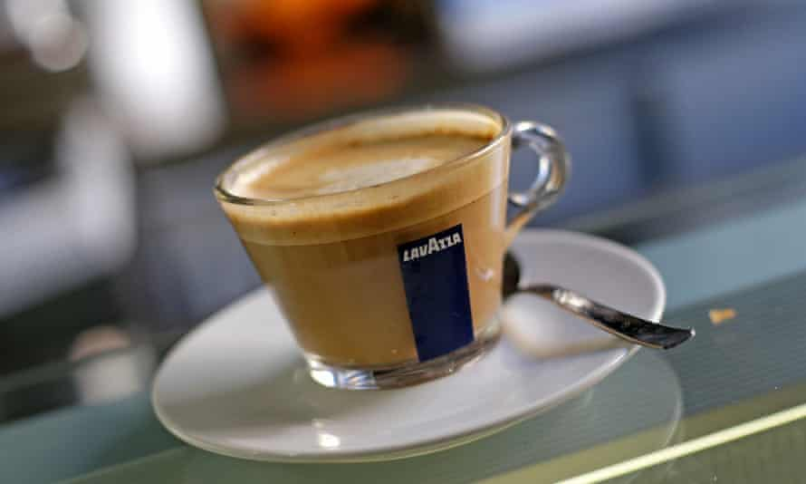a lavazza branded coffee in glass cup