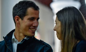 Juan Guaido with his wife Fabiana Rosales in Caracas.