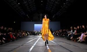 A model presents a creation by Carla Zampatti.