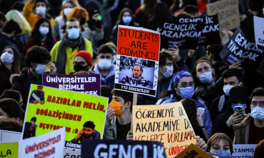Students protest in Istanbul against the state appointment of a new rector at Boğaziçi University.