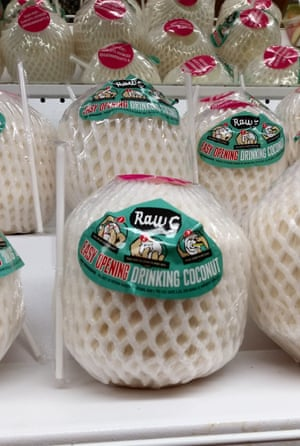 Excessive plastic packaging of a coconut