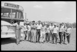 Freedom Riders stop for a photograph at Bowraville: Gerry Mason, Hat Healy, Charlie Perkins, Bob Gallagher, Ann Curthoys, Norm MacKay, Alan Outhred, Colin Bradford and Louise Higham with other freedom riders