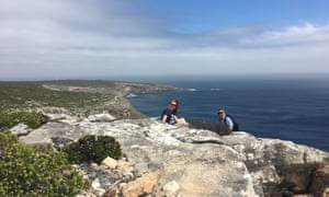 Emma John (the wrier) and her guide Tim on the trail above Maupertuis Bay