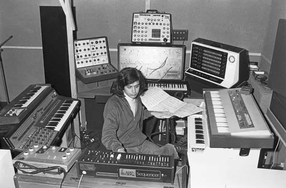 A few preset buttons and a load of Sellotape … Jean-Michel Jarre in his recording studio.