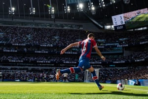 Luka Milivojevic of Crystal Palace is pictured taking a corner kick during the Premier League match against Tottenham Hotspur at Tottenham Hotspur Stadium. Palace were four down by half-time, ending their run of fine form.