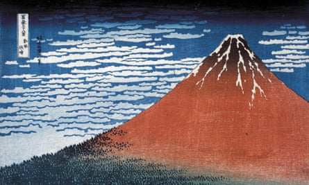 Hokusai, Clear day with a southern breeze ('Red Fuji') from Thirty-six Views of Mt Fuji. Colour woodblock, 1831