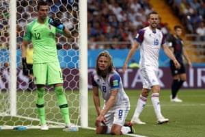 Iceland's Birkir Bjarnason knows he should have hit the target.