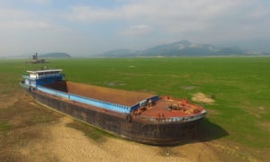 A boat is stranded on the Poyang Lake in east China.