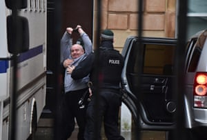 Derry, Northern Ireland. Paul McIntyre, the man charged with the murder of the journalist Lyra Mckee, arrives at the city's magistrates court. Mckee was shot while observing rioting at Creggan estate area last April
