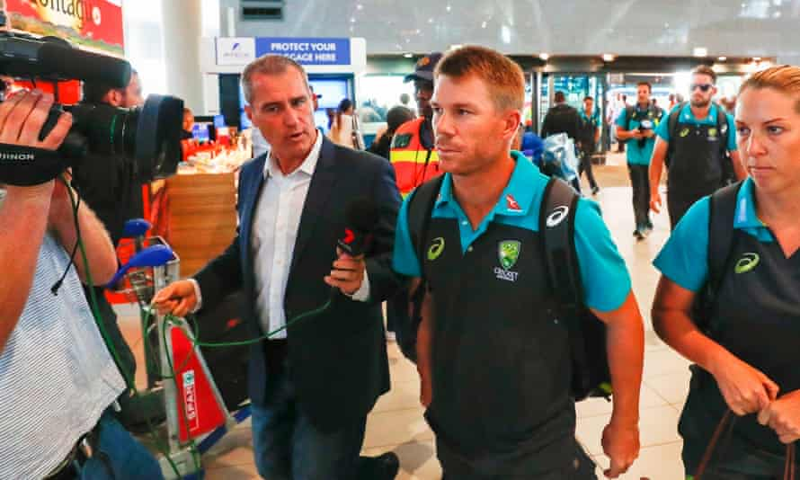 David Warner (second right) leaves South Africa with a year-long ban from playing for Australia and a lifetime ban from captaincy for his country.