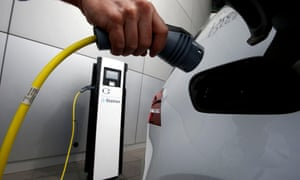 A VW e-Golf electric car being charged