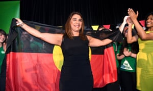 Victorian Greens candidate for the Northcote district byelection, Lidia Thorpe, celebrates on Saturday evening after a massive swing against the Labor government.