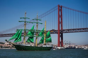 Ship with green sails