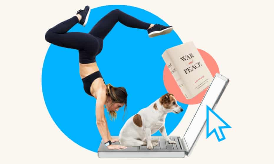 Illustration showing a woman doing a handstand at a laptop