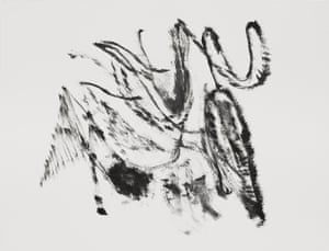 Untitled, 2018, an oil sketch by by Julie Mehretu.