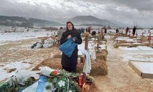 A Bosnian Serb woman weeps
