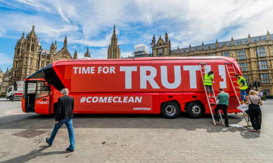The Vote Leave battle bus, rebranded by Greenpeace, outside Parliament in July 2016.