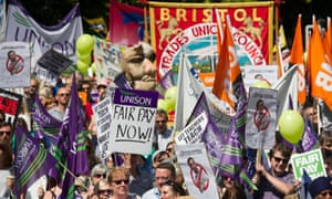 Public sector workers striking