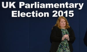 Defeated Alliance candidate Naomi Long on stage as the East Belfast results are announced.
