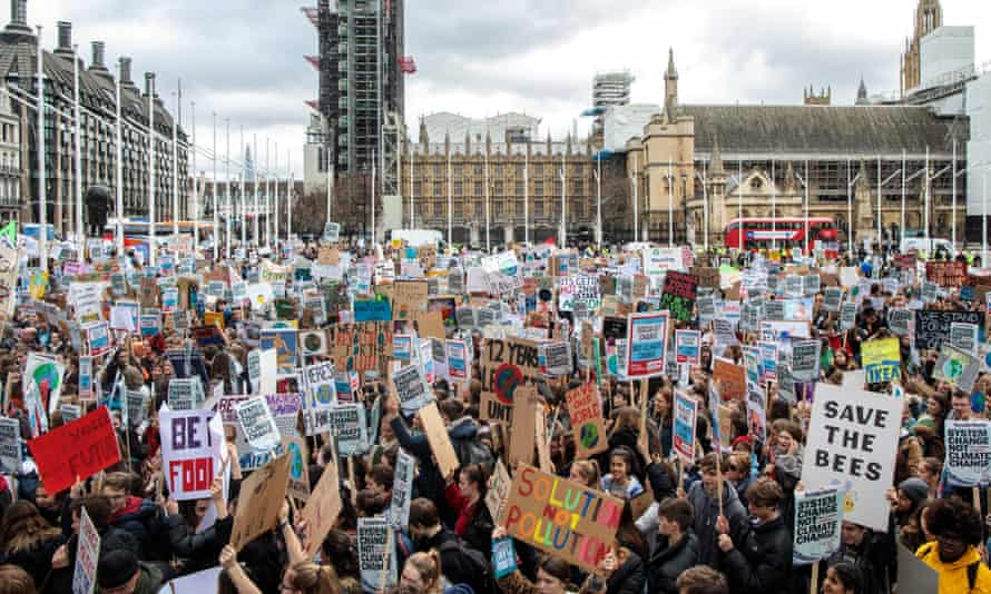 Student climate strike protesters in London