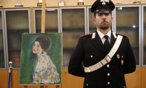 """It was in 1997 that Klimt's Portrait of a Lady went missing from the Ricci Oddi modern art gallery in Piacenza. The theft had baffled art lovers and the police ever since, until gardeners found the painting this year, hidden behind a metal panel in the gallery's own walls. Two men have since come forward confessing to the painting's disappearance and, with considerable brass neck, claimed they had returned it as a """"gift to the city""""."""