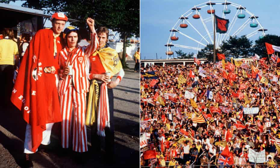 Arsenal fans at the Heysel Stadium in Brussels.