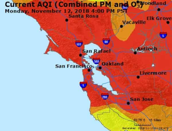 Air quality in the Bay Area is at 'unhealthy' levels.