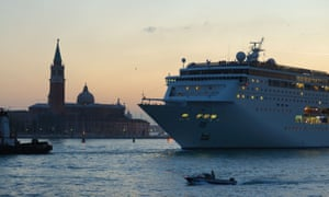 A cruise liner in Venice's San Marco basin.