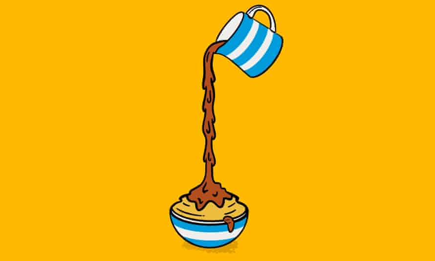 Illustration of jug pouring thick gravy on to overflowing bowl