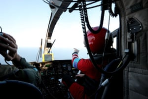 A Frontex air crew monitoring the sea for refugee and migrant crossings