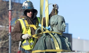 The statue of Edward Cornwallis is removed from its perch in Halifax. After months of public debate, the city council last Wednesday voted 12-4 to remove the statue. By Friday it was gone.