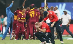 Ben Stokes is consoled by England's captain, Eoin Morgan, following the defeat by West Indies in the final of  the World Twenty20
