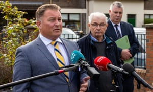 Solicitor Ciarán Shiels, relative Mickey McKinney and solicitor Fearghál Shiels give their reactions yesterday.