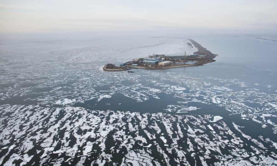 An oil well drilling platform captured in 2013 in Prudhoe Bay, Alaska.