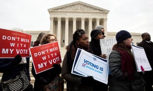 Advocates for voting rights outside the US supreme court, Washington DC 10 January 2018.