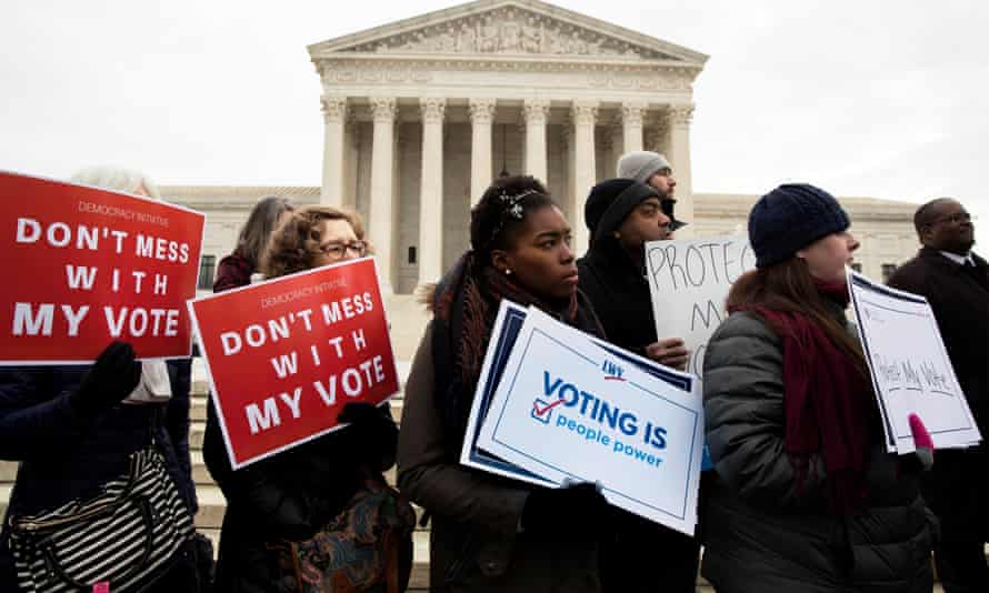 Advocates for voting rights outside the supreme court in January.