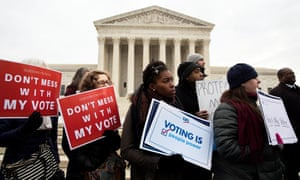 Voting rights advocates rally outside the US Supreme Court in 2018.