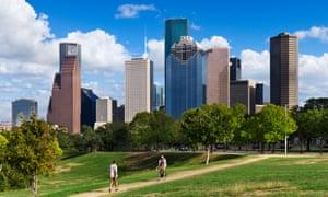 The city skyline from Eleanor Tinsley Park, Houston, Texas.